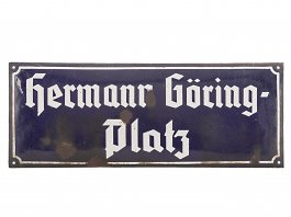 WWII German Enamelled Hermann Göring Street Sign