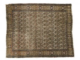 c1880 Antique Persian Blue Ivory Senneh Boteh Rug