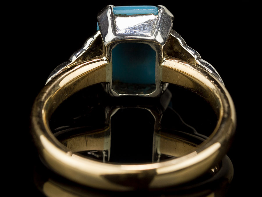 1939 turquoise on 22 carat gold ring parade antiques