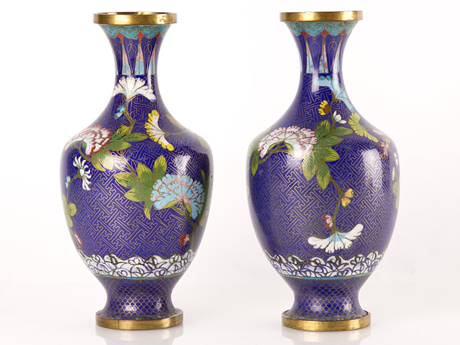 C1880 Pair Of Chinese Cloisonne Baluster Vases Ebay