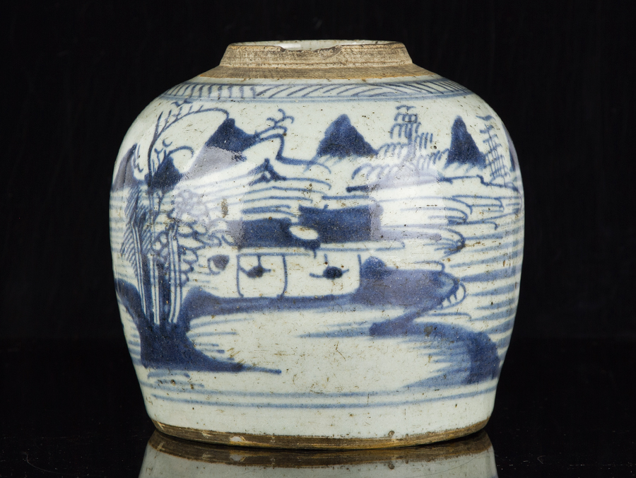 c1630 late ming chinese blue and white stoneware ginger