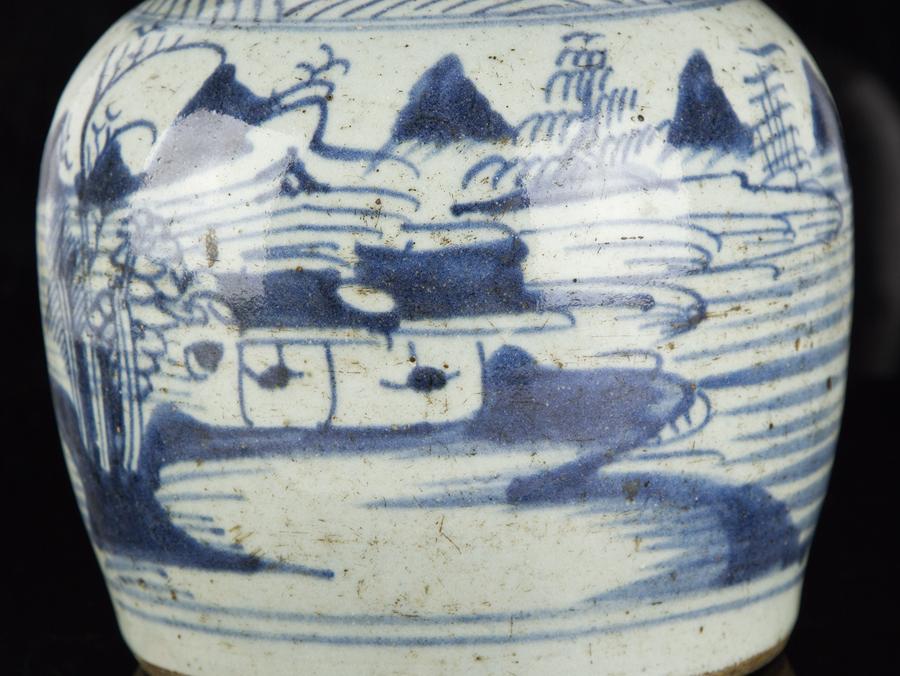 c1630 late ming chinese blue and white stoneware ginger jar - Ginger Jars