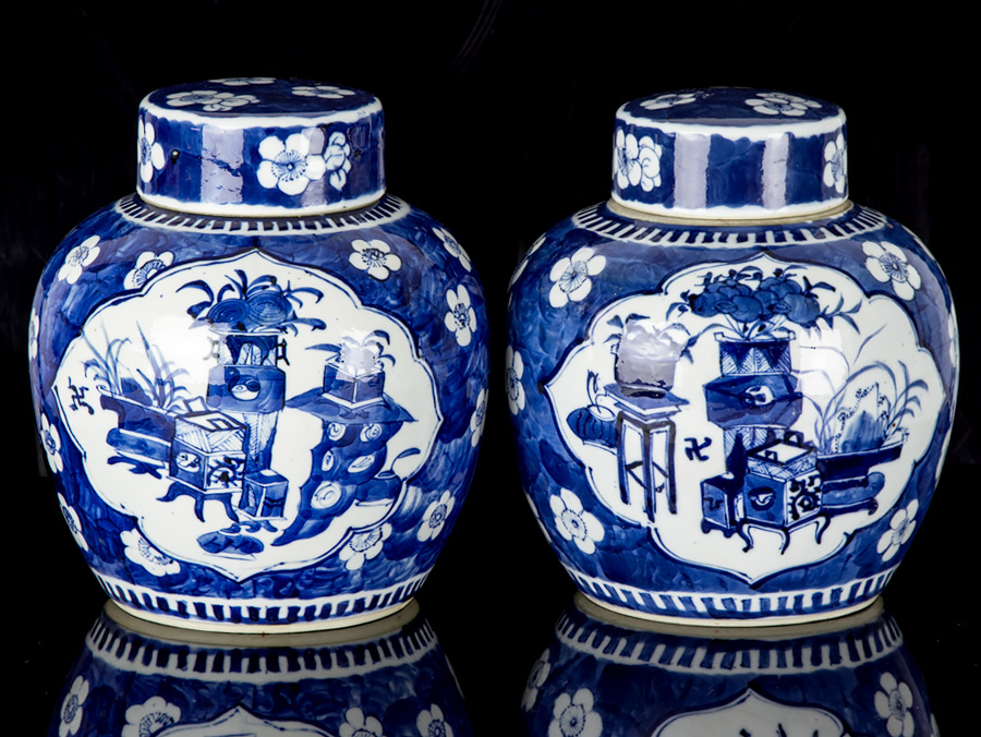Blue And White Jars Part - 49: C1700 Kangxi Blue And White Pair Of Large Ginger Jars
