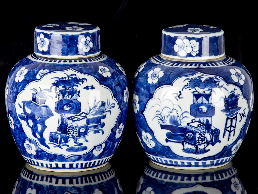 Details About C1700 Kangxi Blue And White Pair Of Large Ginger Jars