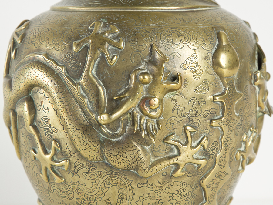 C1860 Chinese Bronze Sculpted Vase With 5 Claw Royal