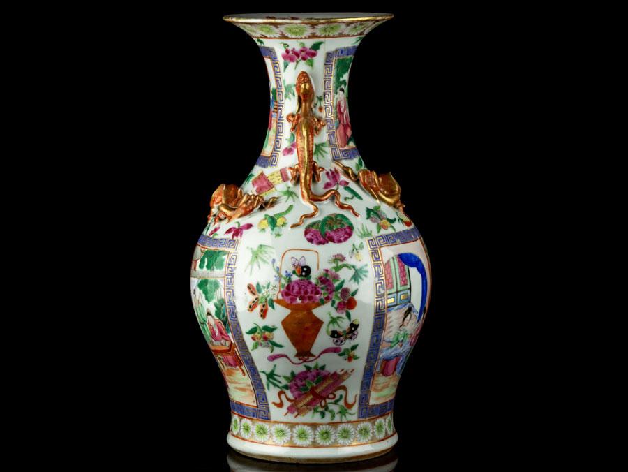C1860 Cantonese China Famille Rose Baluster Vase Ebay