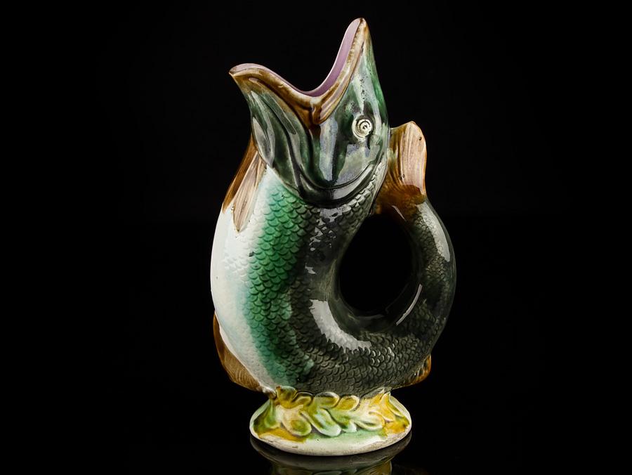 C1880 english pottery majolica codfish gurgle jug ebay - Fish pitcher gurgle ...