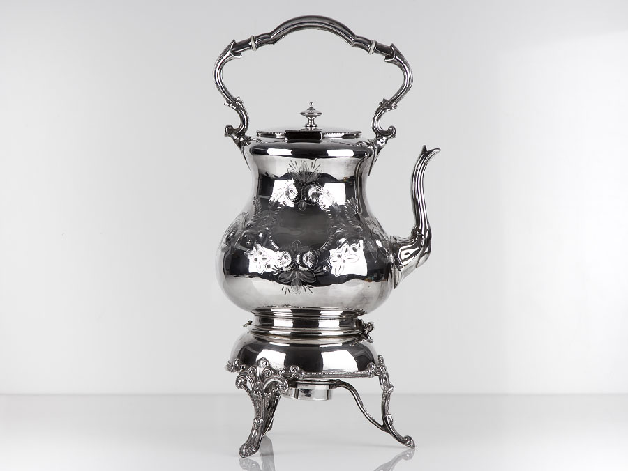 C1890 Very Large Silver Plated Spirit Kettle On Stand