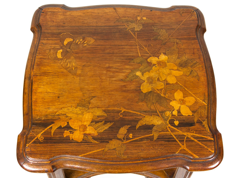 C1900 Art Nouveau Marquetry Jardiniere Stand By Emile