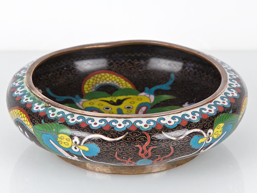 C1900 Chinese Qing Cloisonn 233 Dragon Bowl Ebay