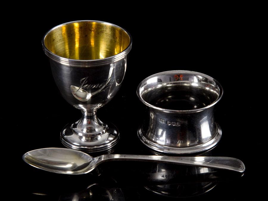 Edwardian Boxed Sterling Silver Christening Egg Cup Set Ebay