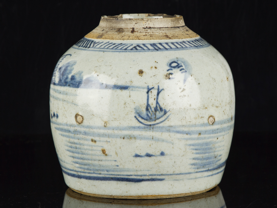 Late Ming Dynasty Chinese Blue And White Stoneware Ginger