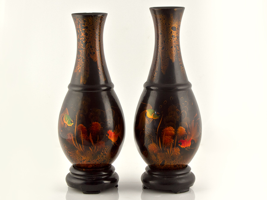 Pair Of C1900 Chinese Lacquered Papier Mache Vases Ebay