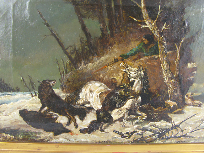 Paypal 1800 Number >> Early 1800s Russian Oil Painting Wolf Attack | eBay