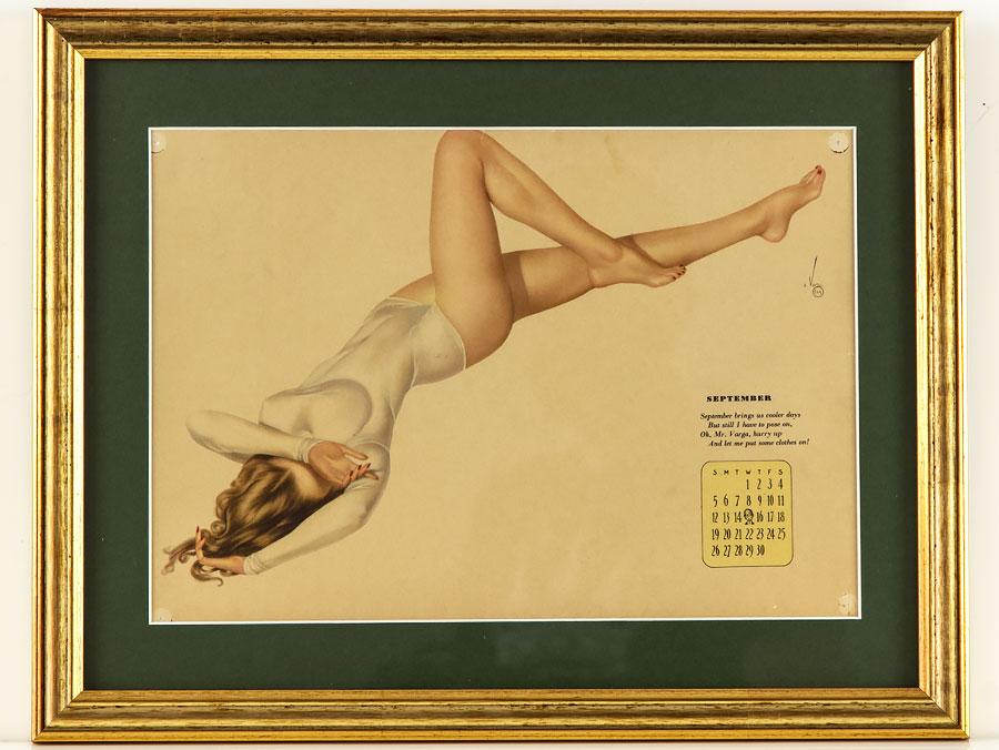 september 1942 framed calendar of wwii vargas pin up girl