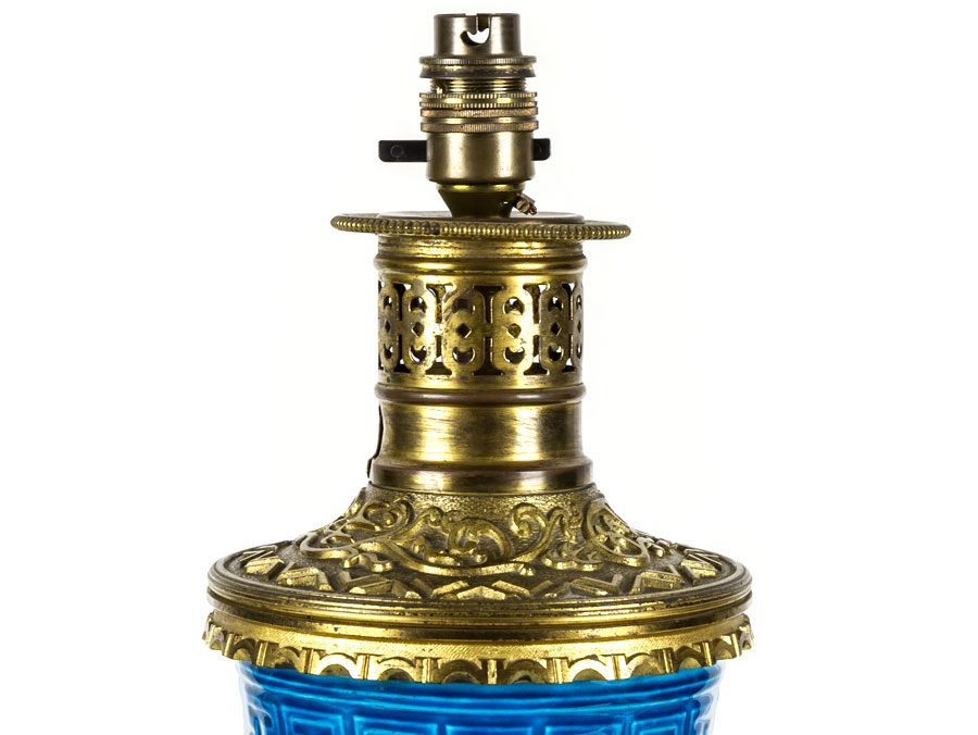 Sevres Charles Fiquenet Turquoise Faience Ormolu Lamp