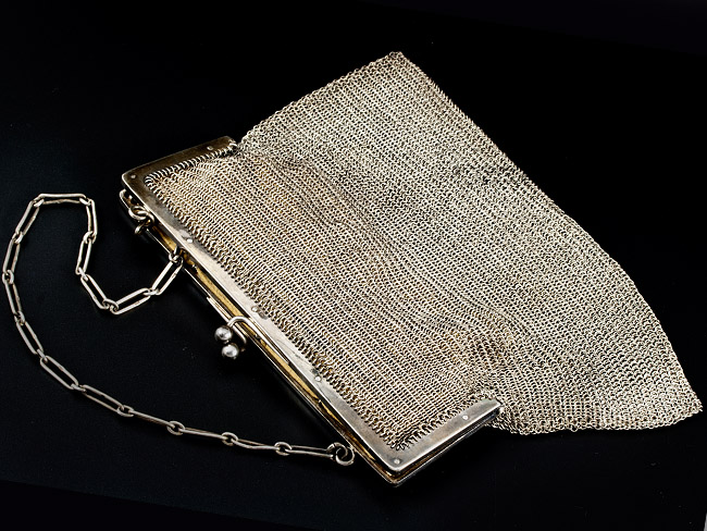 a25f88673e31 Details about Sterling Silver Chain Mail Handbag 1913