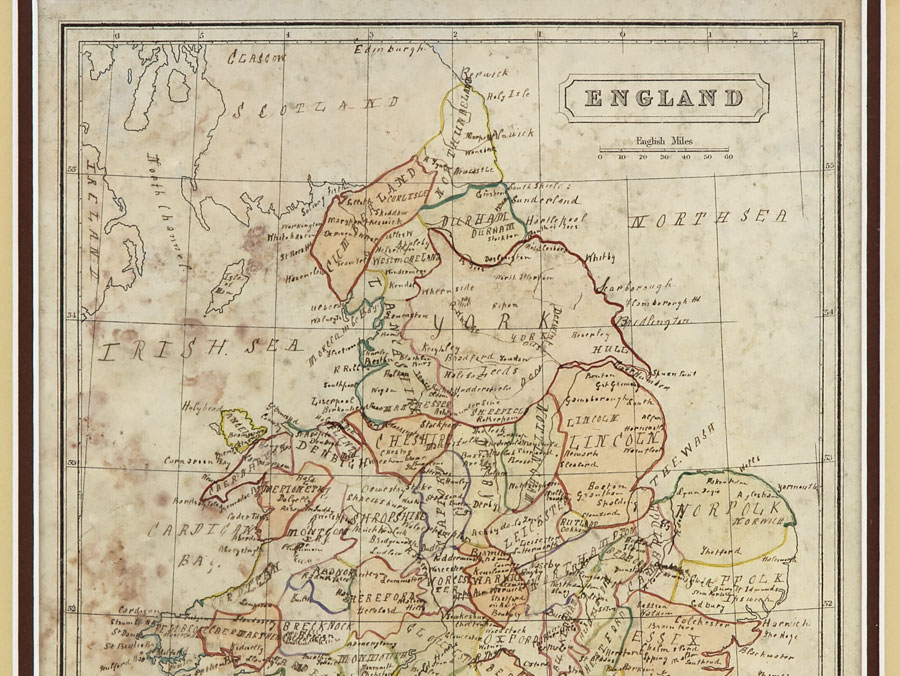 Unusual victorian hand coloured map of england john for Odd victorian names